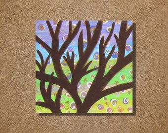 "Acrylic Painting on Wood Panel Canvas Tree on Swirls 8"" x 8"" Wall Art"