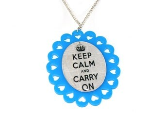 Blue Keep Calm and Carry On Necklace