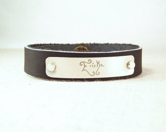 Personalized Leather Cuff Bracelet - ACTUAL Handwriting Bracelet -  Memorial Jewelry