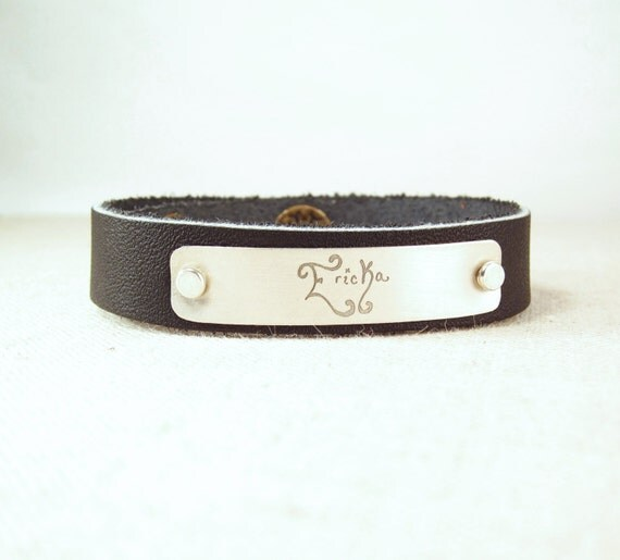 items similar to personalized leather cuff bracelet