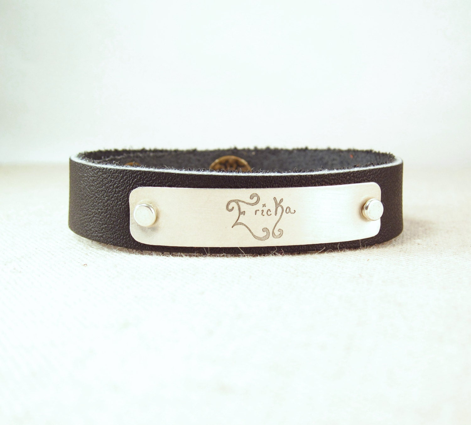 personalized leather cuff bracelet actual handwriting