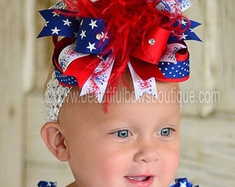 Fireworks Boutique Over the Top Hair Bow 6 inches-FREE HEADBAND INCLUDED