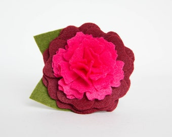 Dog Collar Flower - Burgundy and Pink Peony