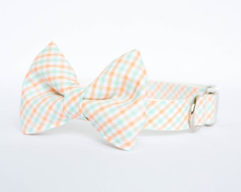 Bow Tie Dog Collar - Peach and Mint Check