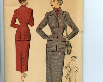 1940s Fitted Misses Suit Advance 5131 Pattern Lined Suit Jacket has Optional Back Button Detail as Does Slim Straight Skirt B32 UNUSED, OFF