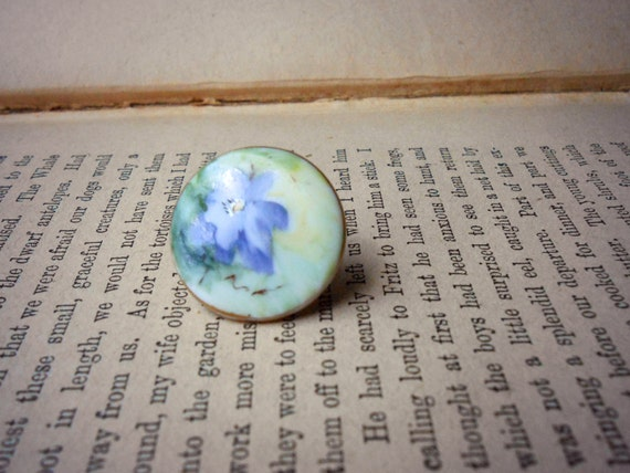 limoges purple morning glory and gold porcelain collar button stud - antique jewelry