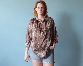 SALE 50% OFF plus size shirt / bubble print blouse / 1980s / xl - xxl