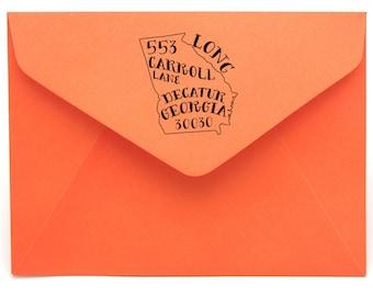 Georgia Personalized Return Address State Stamp