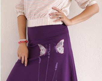 Beautiful Skirts for Women, Purple Skirt with Lace Applique, Pull on cotton skirt, Purple Midi skirt - Butterfly's office affair