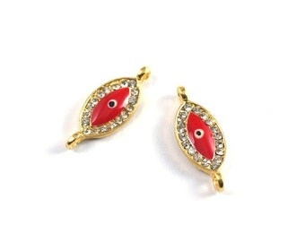 1pc Bright Gold Plated Crystal Evil Eye Connector-25x12x3mm-(021-022GP)