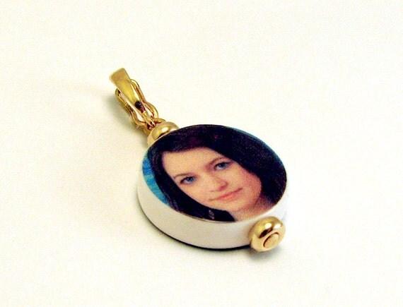 Round Mini Photo Charm - 14K Gold Edition - C8G