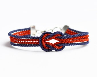 Navy blue and red forever knot nautical rope bracelet with silver anchor charm