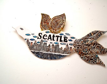 SEATTLE City Poetry Bird Wall Hanging Sculpture - HandMade Organic & Rustic Stamped Carved Buildings, Water, Clouds Plaque, Fine Art Sign