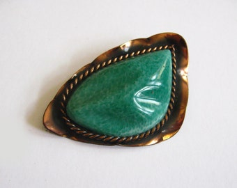 Large Peking Glass & Copper Brooch Mid Century Vintage Modernistic Green Pin