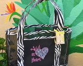 Tote Bag Wild At Heart Embroidered Zebra Fabric and Vinyl Mesh