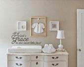 All Gods Grace Baby Wall Words Art Decor Decal Sticker Vinyl Lettering