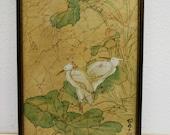Vintage Asian Painting White Cranes on Batik Background in Vintage Frame