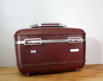 vintage 80s Merlot Wine Red Burgundy American Tourister Hard Train Case- For Travel or Make Up