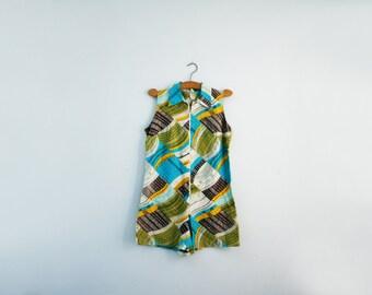 vintage 50s 60s Geometric Print Romper Sunsuit Playsuit Aqua Blue & Green - M/L