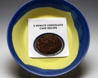 Yellow and Blue Mini Microwave Cake Pan, 7 inch Ceramic Pie Dish, with 5 Minute Chocolate Cake Recipe
