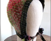 Plaid Wool Mohair Recycled Neo Victorian Bonnet