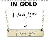 Custom Handwriting Necklace - Gold Name Plate Necklace