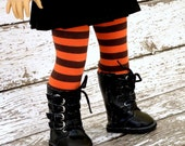 American Girl Doll Halloween Tights, Orange Striped Doll Stockings, 18 inch Doll Clothes