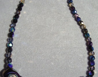 "19"" Black, Silver & Blue Dichroic Bead, Crystal and Sterling Silver Necklace with Crystal and Sterling Box Clasp"