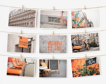 SALE! Paris Postcard Set, Orange Travel Postcards 4x6 Art Print, Affordable Art, Paris Decor Gallery Wall Set, College Student Gift for Her