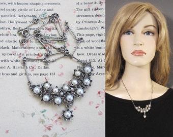 Vintage Hollycraft Silver Pearl Drop Crescent Starburst Necklace Etched Bar Chain Unique