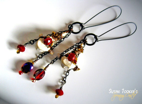 Wire Wrapped Bone Fetish Shoulder Duster Earrings Iridescent Gold Scarlet Red Crystal Beads Long Dangle Talisman Handmade by Spinning Castle