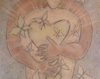 PRINT Open Heart, 8x10 art print,  summer art print, butterfly art, lovers art, soulmate art print