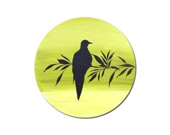 Round Painting, Dove, Silhouette, Bird Art, Yellow Green, Nursery Art, Nature