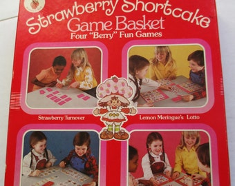 "1981 Strawberry Shortcake Game Basket - Four ""Berry"" Fun Games"