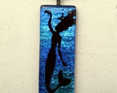 Mermaid Necklace Pendat | Fused Glass | Fantasy Art | Siren | Ocean Sea Water Fish | Art Nouveau | Fairy Tail | Mythological Jewelry