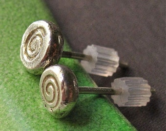 Chunky Little solid sterling silver post earrings with stamped spirals