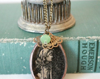 Antique Image Girl in the Shadows Pendant with Charms on Brass Chain