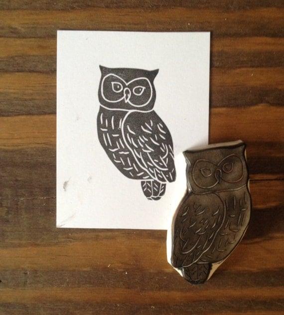 Owl hand carved stamp