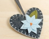 Wool Felt Heart Ornament • Decoration • Grey with a Light Blue Flower • Hand Embroidered