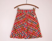 1960s Red Plaid Wool Pleated Mini Skirt Deadstock XS