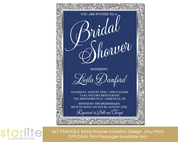 Navy Blue And Silver Wedding Invitations: Navy Blue And Silver Bridal Shower Invitation Silver By