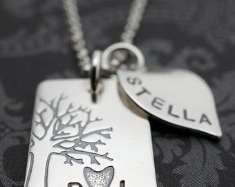Family Tree - Personalized Under the Oak Tree Necklace w/ Small Leaf Charm - Family Names or Initials - Sterling Silver Jewelry by EWD
