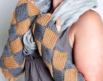 Knit Fingerless Gloves Warm Grey Gloves Brown Fashion Accessories Grey Winter Accessories Entrelac Gloves Long Gloves Fashion Gloves