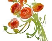 Orange Ranunculus Bouquet- original watercolor flower painting by Gretchen Kelly
