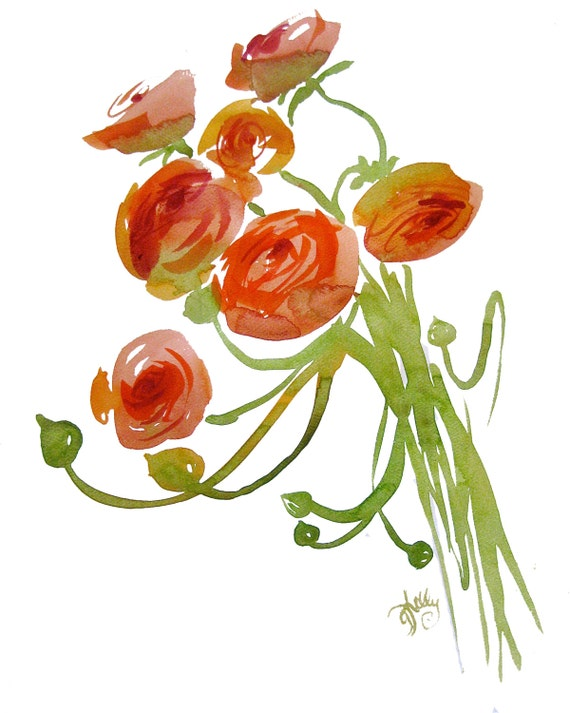 Watercolor flower painting-Orange Ranunculus Bouquet- original by Gretchen Kelly