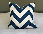 Modern Navy and White Chevron Pillow Cover - Zippy Large Scale - 20x20