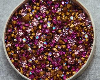100 Pink Swarovski Crystal chaton Mix - 1st quality machine cut  - huge assortment of loose rhinestones