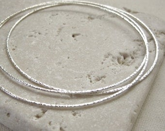 Silver Filled Textured Thin Bangles - Three Bracelet Blanks