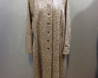 Vintage coat 1950's Over Five Seven Shops TALL grey coat Herringbone tweed wool L XL