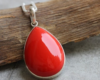 Red Coral pendant - Drop pendant - Bezel set pendant - Red pendant jewelry - Gemstone pendant - Gift for her